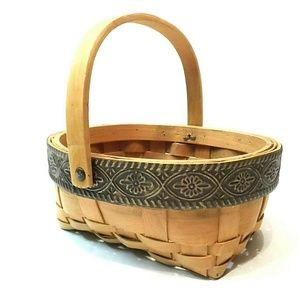 Other - Chipwood Woven Basket W/Metal Decorative Rim